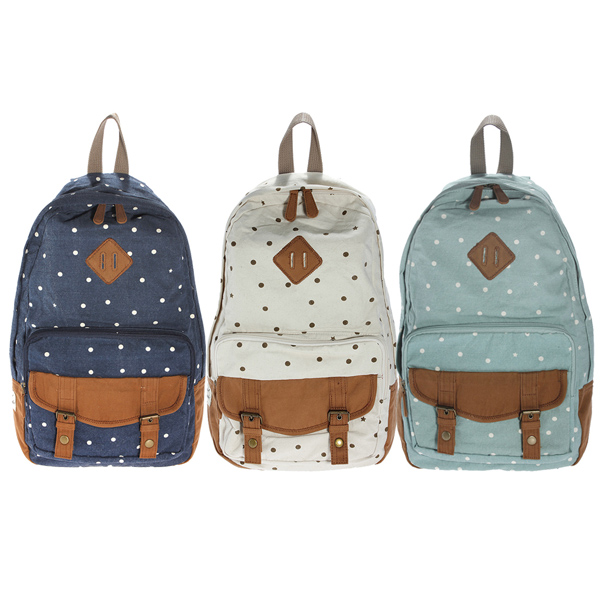 Fashion women nose dots canvas backpack school bookbag | Fashion ...